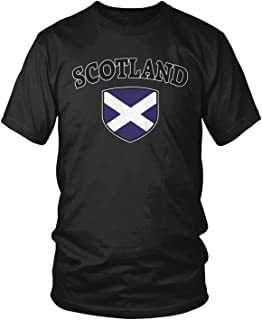 Amdesco Men`s Scotland Flag Shield, Scots Scottish Pride T-Shirt