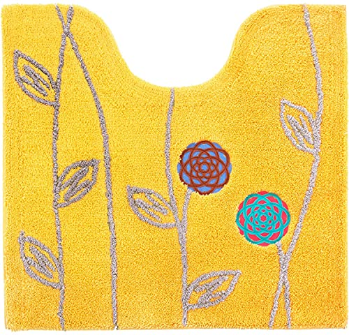 Proバイダーエトフトイレマットセット3点北欧(60×64cmトイレマット+洗浄暖房型フタカバー+ペーパーホルダーカバー)イエロー金運黄色