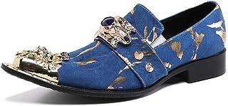 YIZHIYA Chaussures en Cuir Pointues pour Hommes,Chaussures d'uniformes habillées Homme sculptées par Brock en Cuir véritab...