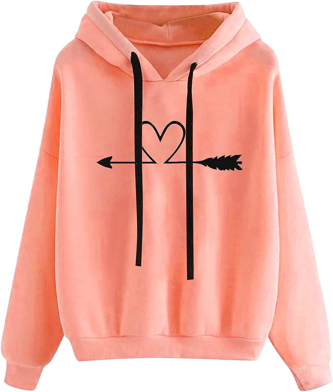Hoodies for Women Teen Girls Heart Graphic Printed Long Sleeve Drawstring Pullover Sweatshirt Casual Hoodie Tops