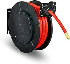 """ReelWorks Carretel De Mangueira De Ar Retrátil De 3/8""""X50 Pés De Comprimento Premium Commercial Flex Hybrid Polymer Mangue..."""