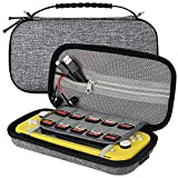 Sisma Carrying Case for Nintendo Switch Lite Console, Travel and Storage Hard Case Holds 10 Game Cartridges and Accessories - Grey