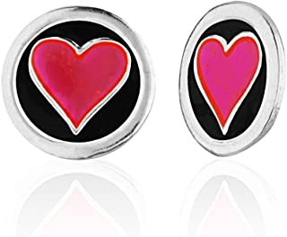 Children's 925 Sterling Silver Colored Enamel Small Round Heart Stud Earrings