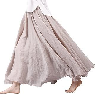 Women Bohemian Cotton Linen Double Layer Elastic Waist Long Maxi Skirt