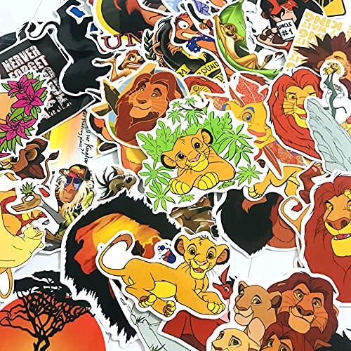 Sgucci Simba The King Lion Stickers Pack PVC Waterproof Vinyl Skateboard Guitar Travel Case Sticker Door Laptop Luggage Car Bike Bicycle Cartoon Graffiti Stickers 50Pcs