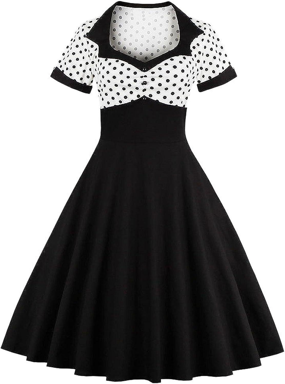 LUNAJANY Women's Vintage Rockabilly Polka Dot 50s Short Sleeve Casual Dress