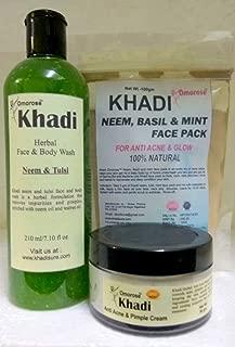 Khadi Anti Acne & Pimple Clear Combo ( Neem Tulsi Face Wash (210 Ml) , Neem Tusli Mint Face Pack (100 Gm) And Anti Acne & Pimple 50 Gm )