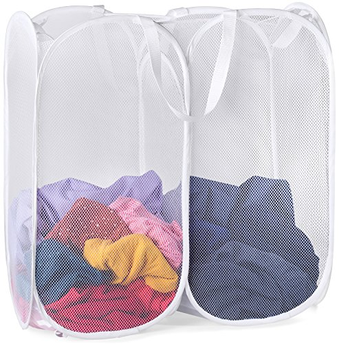 Mesh Popup Laundry Hamper - Two Compartments Collapsible for Storage and Easy to Open Folding Pop-Up Clothes Hampers are Great for The Kids Room College Dorm or Travel White