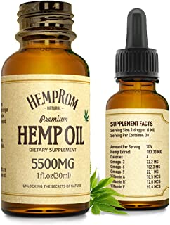 Hēmp Oil for Pain, Anxiety & Stress Relief 5500MG Natural Organic Hēmp Seed Oil Drops Rich in Omega &Vitamin Improve Sleeping