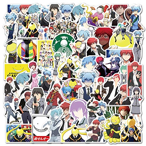 ZIWEI Anime Asesinato Aula Maleta Motocicleta Cuaderno Mano Cuenta Impermeable Dibujos Animados Pegatinas 50 Hojas