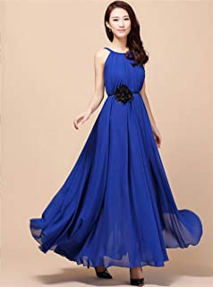 Blue Chiffon Casual Dress For Women