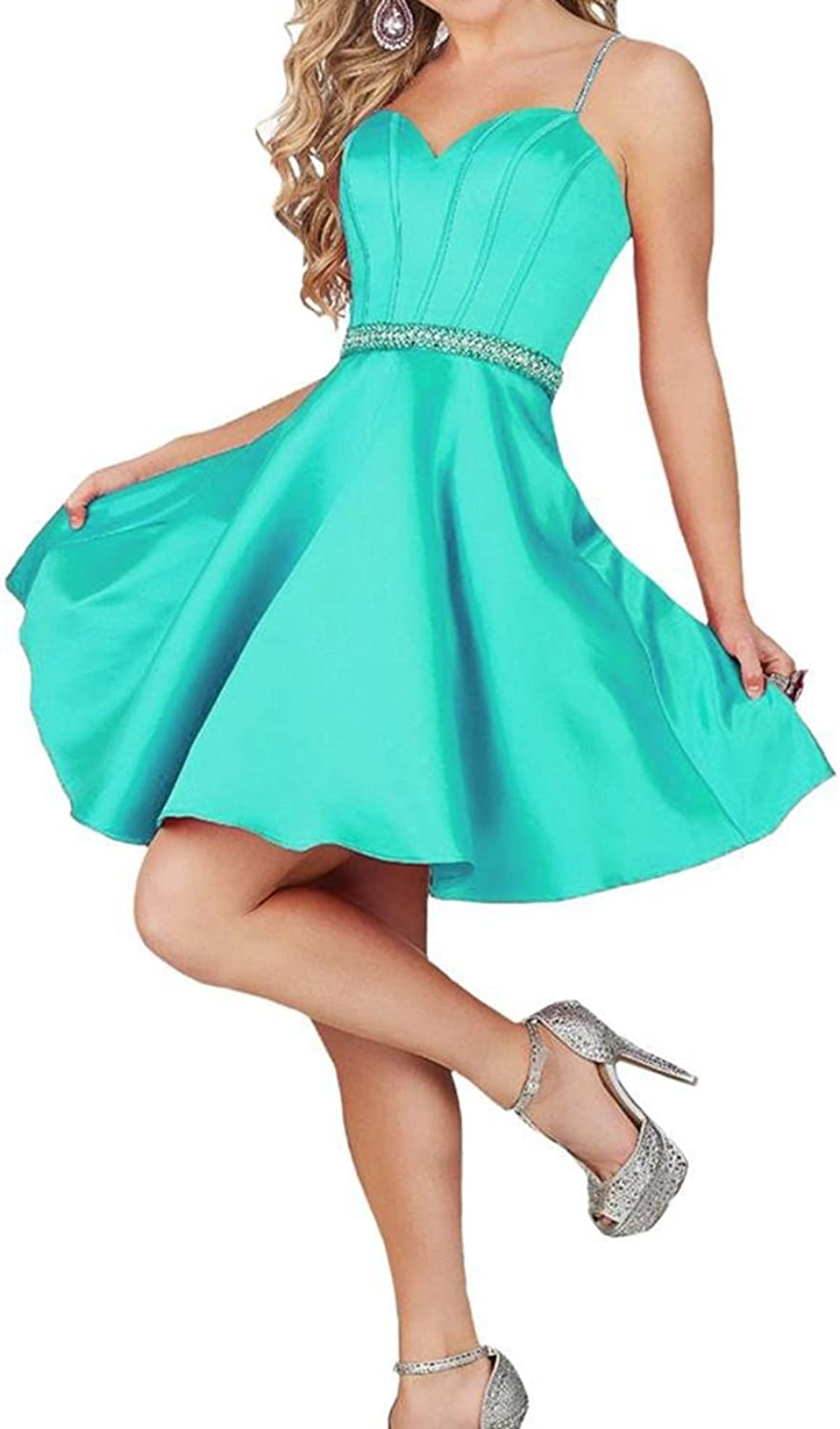 YOUTODRE Beaded Homecoming Dress Spaghetti Strap Short Cocktail Prom Dresses for Teens