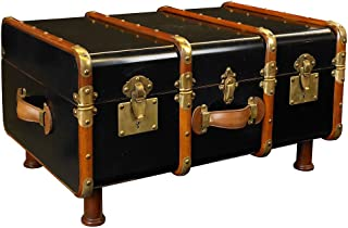Stateroom Steamer Travel Trunk Coffee Table Antiqued Black Authentic Models