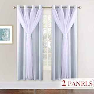 NICETOWN Double Layers Light Blocking Mix & Match Crushed Voile and Blackout Curtains with 4 Tie-Backs for Bedroom Window, Cortinas para Sala (Platinum, Set of 2, W52 x L72)