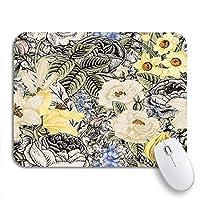 ROSECNY 可愛いマウスパッド 夏の花柄ヴィンテージ花バラ白と黄色の滑り止めゴムバッキングコンピュータマウスパッドノートブックマウスマット