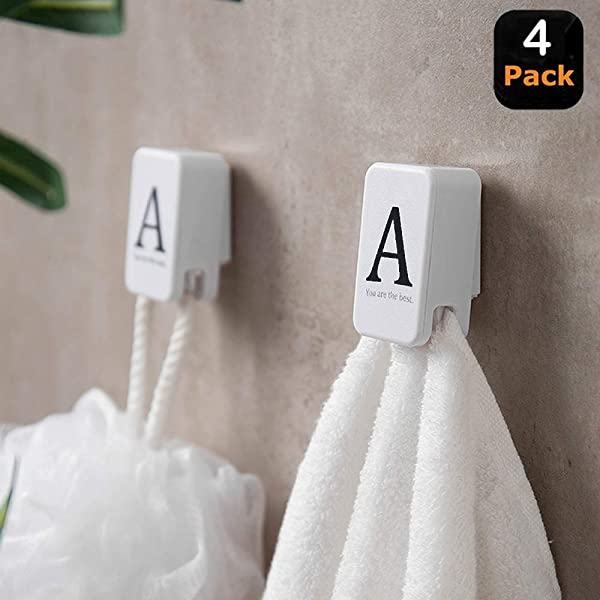 MOYEEL 4 Pack Kitchen Towel Clips Hooks Self Adhesive Dish Towel Holder Press Type And Easy Installation Ideal As Bath Bathroom Shower Or Outdoor Towel Holders
