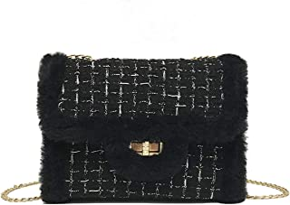 cool nik Women Faux Fur Handbag Evening Clutch Phone and Wallet Purse Lady Girls Shoulder Bag One Size E Black
