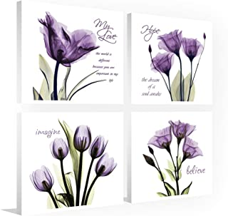 Sweety Decor, Canvas Print Wall Art Painting, Elegant Purple Flower for Home Decor, 12 x 12in x 4Panels (Purple, 12 x 12in)