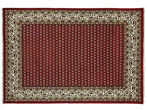 Indo Sarough Mir Beige Rot Orient Teppich Handgeknüpft 100% Schurwolle Herati Rot 300x200 cm