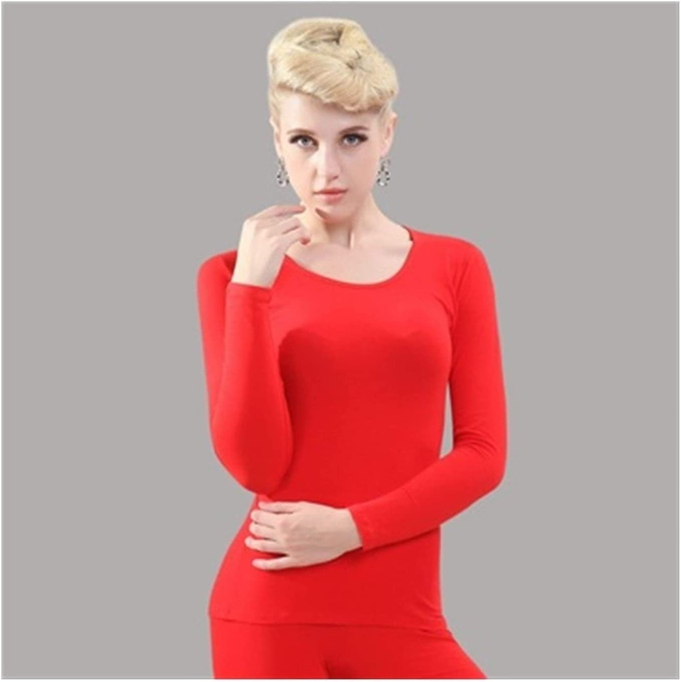 QWERBAM Women Intimates Low O Neck Cotton Thin Soft Heated Inner Clothing Winter Keep Warm Thermal Underwear (Color : Red, Size : One Size)