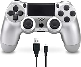 Best Wireless Controller Compatible with PS4, Game Controller for Playstation 4 Built-in Speaker six-axis Gyro and Dual Vibration, Remote Control Gamepad for PS4/Slim/Pro Console (Silver) Review
