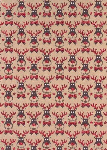 Reindeer Rolled Handmade Christmas Craft Gift Wrap Paper