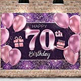 PAKBOOM Happy 70th Birthday Backdrop Pink Photo Background Banner 70 Birthday Decorations Party Supplies for Women