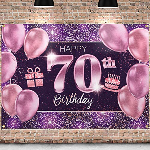 PAKBOOM Happy 70th Birthday Banner Backdrop - 70 Birthday Party Decorations Supplies for Women - Pink Purple Gold 4 x 6ft