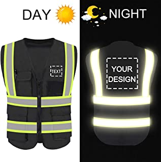 Personalized High Reflective Visibility Safety Vest Custom Your Logo Protective Safety Workwear with Reflective Strips and Front Zipper(Black L)