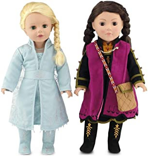 Emily Rose 18 Inch Doll Clothes for American Girl Dolls | Princess Elsa and Anna Frozen 2 Inspired 11 PC Doll Outfit Set |...