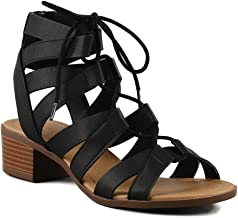 City Classified Comfort Lace Up Mid Low Stacked Block Wood Heel Open Toe Ankle Strap Sandal Gladiator Women's Black 5.5