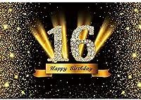 新しい2.1x1.5mVinyl誕生日の背景16歳の誕生日の背景ゴールドブラックキラキラスパンコール背景写真キッズパーティー