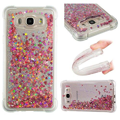 HopMore Funda Silicona para Samsung Galaxy J7 2016 (J710) Glitter Liquido 3D Brillante Purpurina Transparente Dibujo Carcasa Resistente Antigolpes Caso Protección para Chicas Mujer - Amor Oro Rosa
