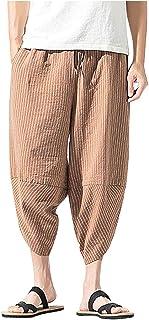 メンズ サルエルパンツ Luguojun アラジンパンツ ストライプ ダンス カジュアル ポケット ゆったり ヒップホップ クロップド スウェット コットン 無地 大きサイズ ユニセックス 七分丈 ズボン ハーフ 大きめ ショート 夏 調整紐 通気性 袴パンツ