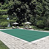 Happybuy Pool Safety Cover Fits 14x26ft Rectangle Inground Safety Pool Cover Green Mesh Solid Pool...