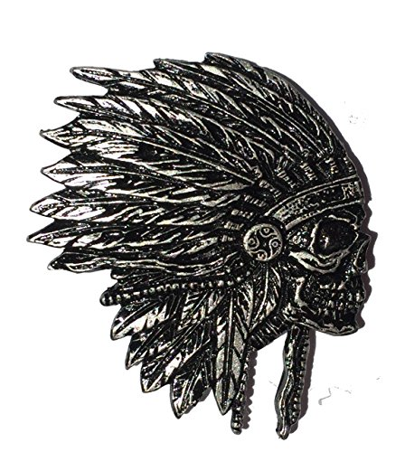 Indian Chief Skull Hat Jacket Vest Biker PIN - by Patch Squad