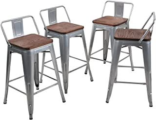 Tongli Metal Barstools Set Industrial Counter Height Stools(Pack of 4) Patio Dining Chair Silver Wooden Seat Low Back 26