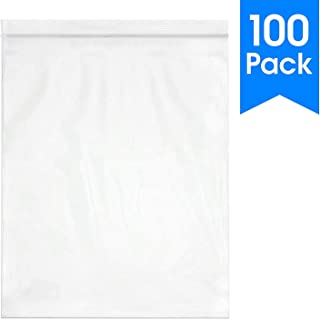 100 Count - 12 X 15, 2 Mil Clear Plastic Reclosable Zip Poly Bags with Resealable Lock Seal Zipper by Spartan Industrial (More Sizes Available)
