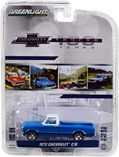 1972 Chevrolet C-10 Pickup Truck Blue w/White Top and Black Stripes 100 Years Anniversary of Chevrolet Trucks 1/64 Diecast Car Greenlight 27970 C