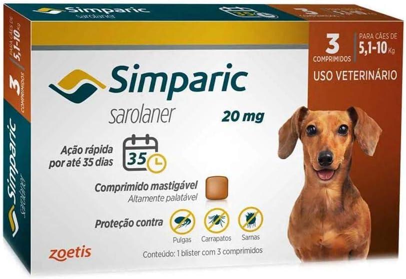 Simparic 20mg, 5,1 Até 10kg, 03 Compri Zoetis Para Cães!
