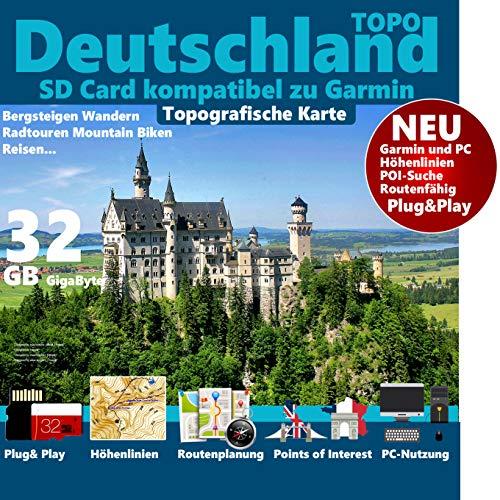 ★ Deutschland Germany Topo GPS Karte microSD Card für Garmin Navi, PC & MAC★