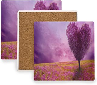 Large Square Drink Coasters,Purple Spring Heart Shaped Tree Ceramic Thirsty Stone With Cork Back Cup mats Protect Your Furniture From Spills, Scratches,Water Rings and Damage 2pcs