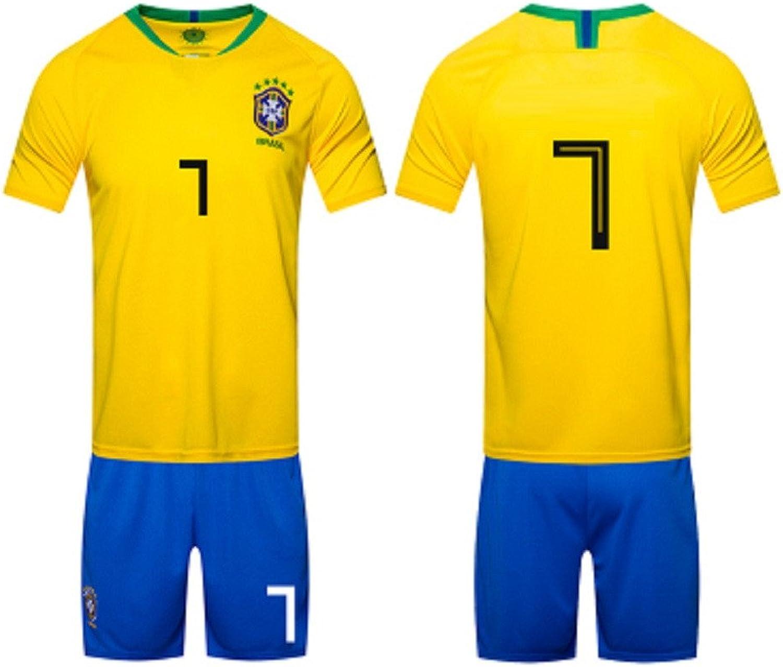 2018 Football Uniform, Brazil Home Jersey Adult Shirt Training Team Served Away Goalkeeper Suit, 7,Soccer Game