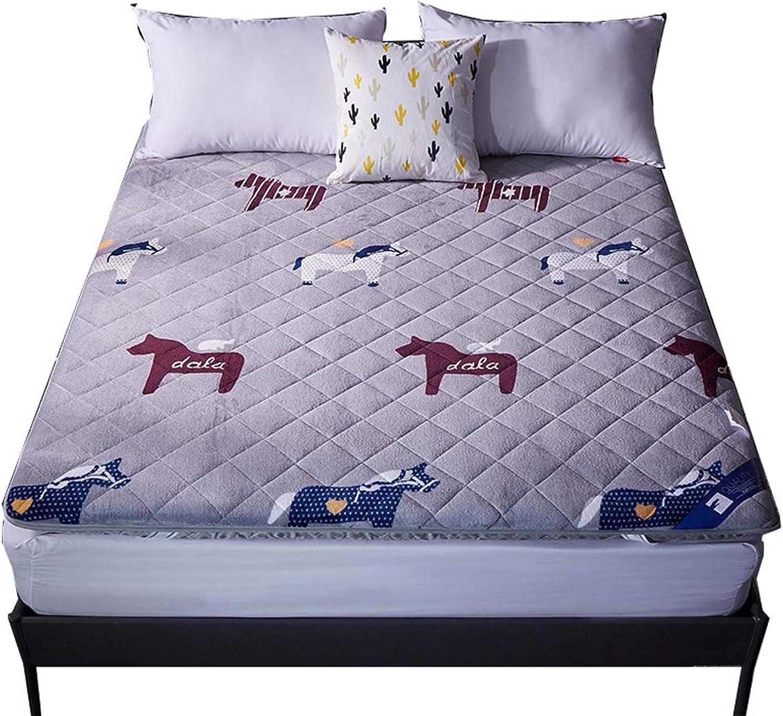 Thicken Flannel Mattress, Fluffy Japanese Tatami futon, Soft Breathable Antibacterial Anti-mite Sleeping pad Non-Slip Microfibre-A 120x200cm(47x79inch)