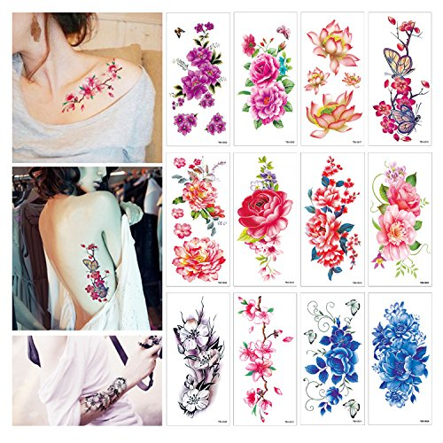 32 Sheets Flower Temporary Tattoos Stickers Lotus Cherry Blossoms Fake Tattoo