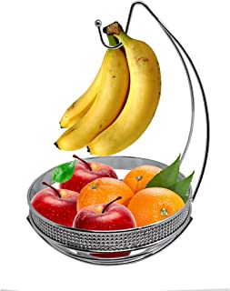 Fruit Basket Bowl with Banana Tree Hanger, Elegant Design Kitchen Display Rack Stand by American Dream, Sturdy and Decorative Multi-Purpose Storage Basket Holder, Grapes Hook (Chrome)