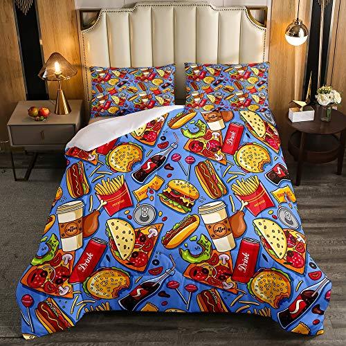 Erosebridal American Fast Food Comforter Set, Kids Pizza Hotdog Bedding Set Twin Size, Hamburger Print Down Comforter for Children Boys Girls, Funny French Fries Cartoon Colorful Quilted Duvet