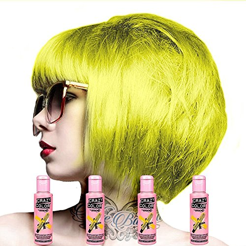 4 X Crazy Color Renbow Semi-Permanent Hair Colour Cream Dye 100ml Box of Four-Canary Yellow