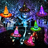 HOWAF 6pcs Halloween Hüte Leuchtend Dekorationen, Hexe Hüte Lichterkette Halloween Hängende Deko für Freien Hof Baum Garten Dekorationen Kostüme Zubehör, Leuchtender Hexenhut Lichter mit LED