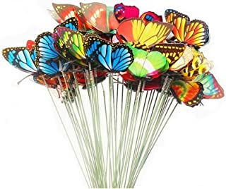 GFORTUN 50pcs Butterfly Stakes 2.75 Inch 3D WingsGarden Butterfly Ornaments Waterproof Yard Decorations for Indoor Outdoo...